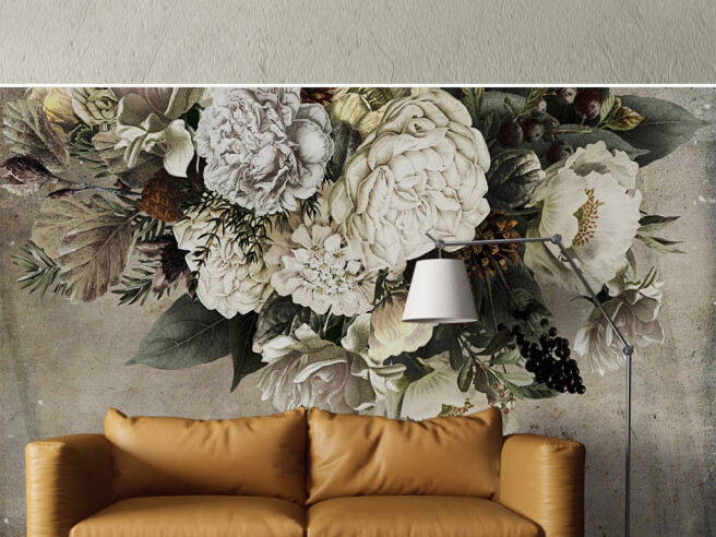 Фотообои Букет цветов на бетонной стене