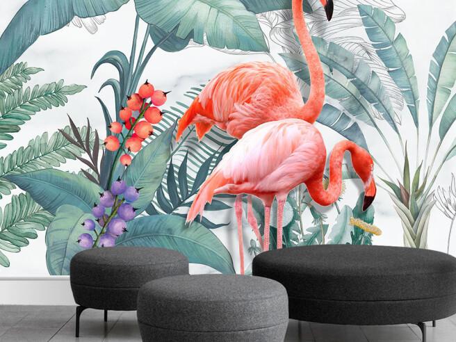 Одинокий алый фламинго