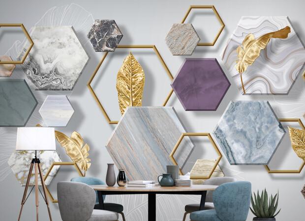 Каменная геометрия с золотыми листьями