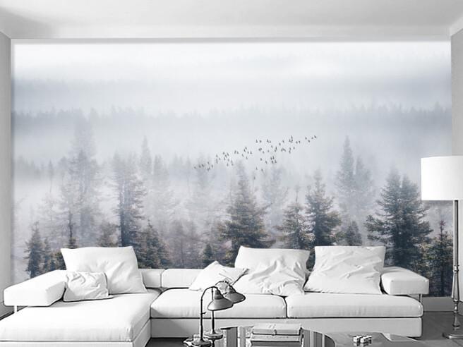 Лес в тумане и птицы