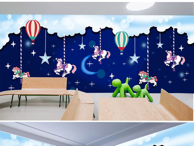 Фотообои Ночная карусель и воздушные шары