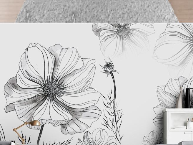 Фотообои Контуры цветов