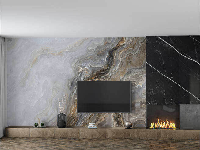 Фотообои мраморная стена с дизайном