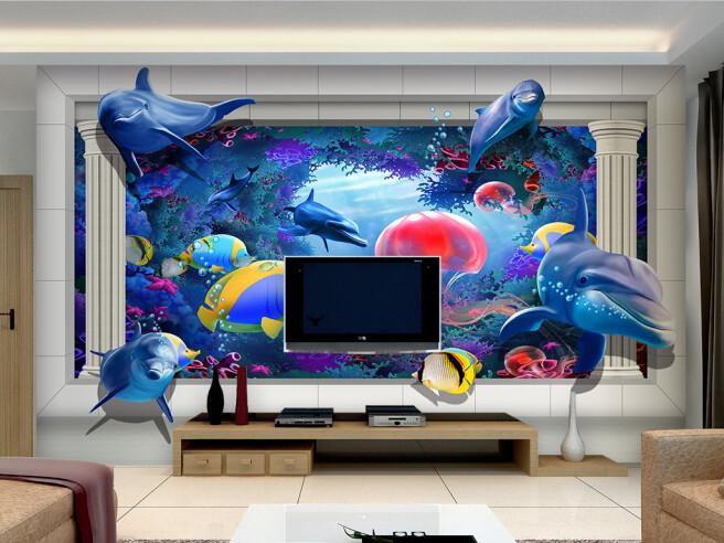 Фотообои Морской мир медуза дельфин