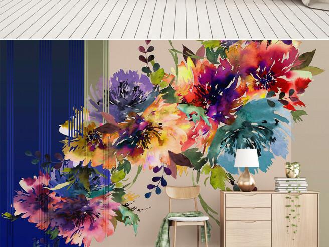 Фотообои Цветы на полосатом фоне