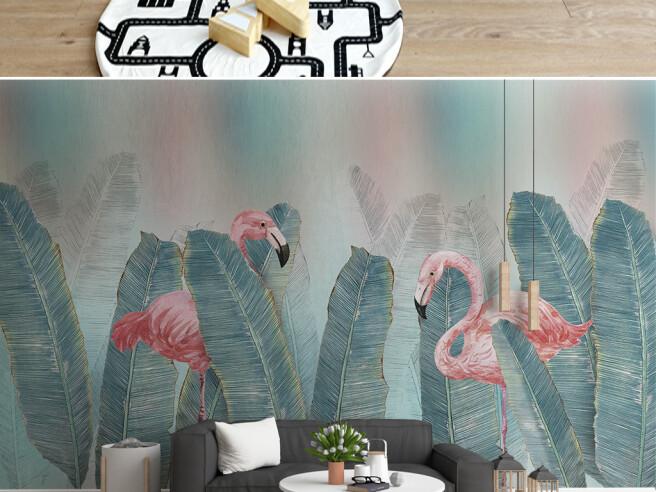 Фламинго среди листьев