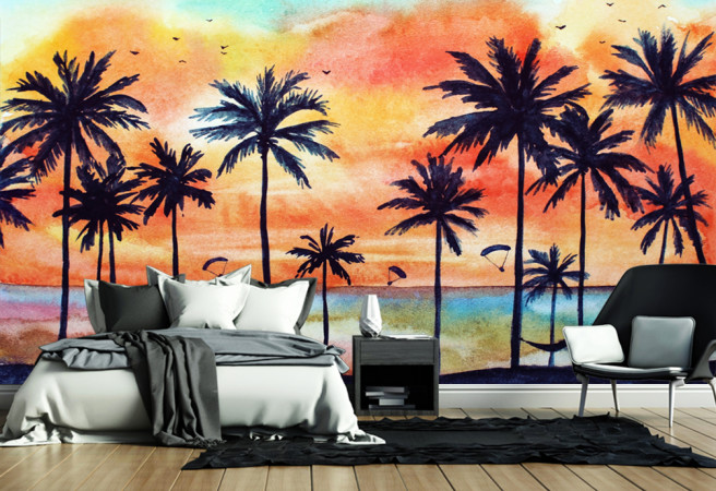 Фотообои пальмы и краски