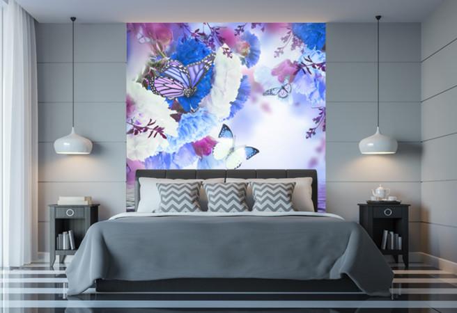 Фотообои цветы и бабочки