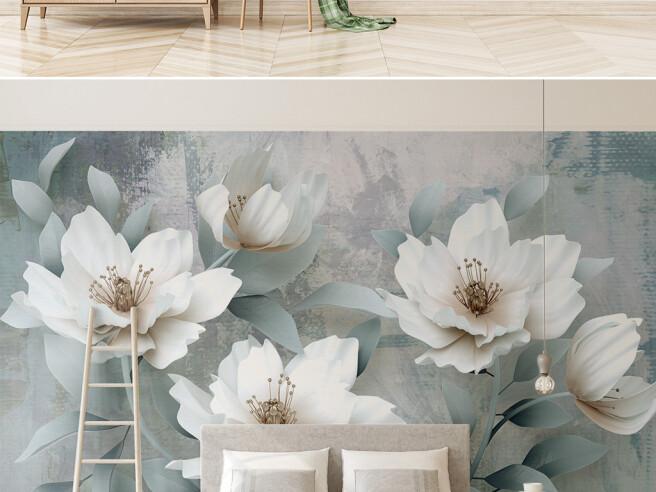 Фотообои Большие белые цветы
