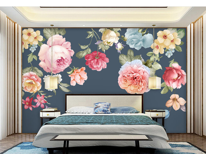 Фотообои Цветы на серо-синем фоне