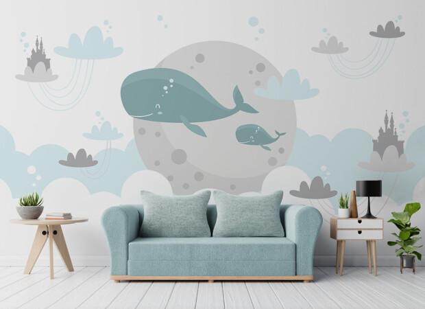 Два кита на фоне луны
