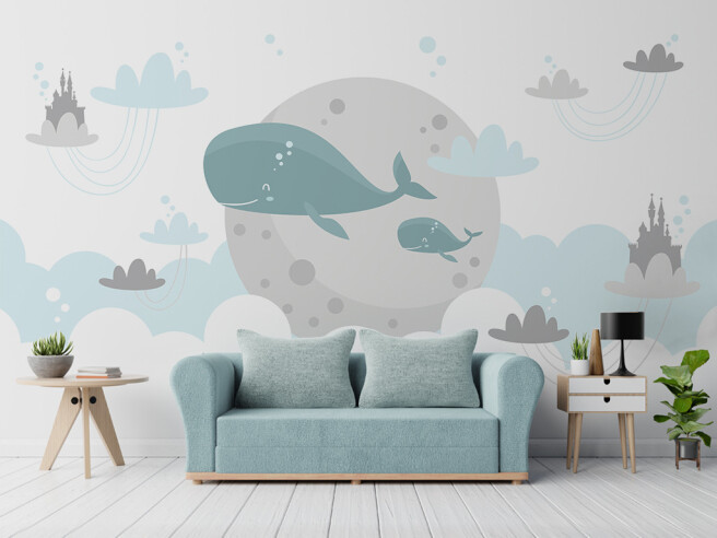 Фотообои Два кита на фоне луны