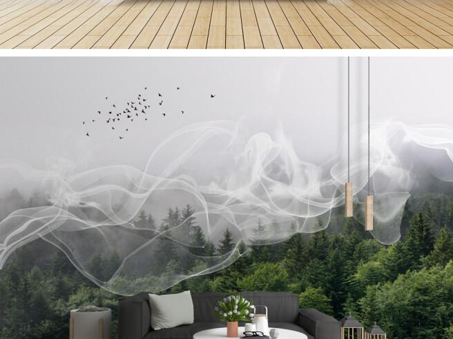 Фотообои Дым над лесом