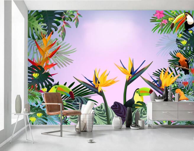 Фотообои Туканы в ярких цветах