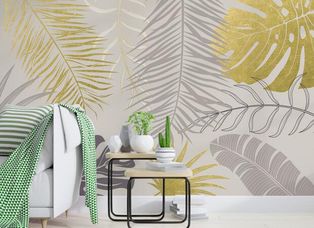 Золотые и серые листья пальм