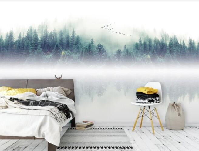 дымка озеро и лес