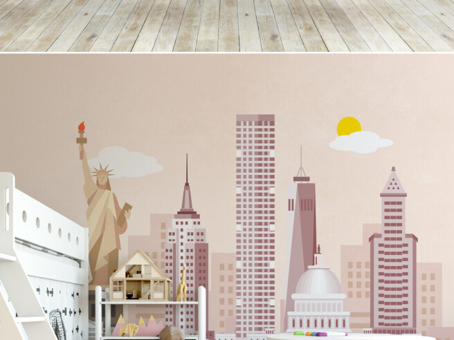 Фотообои Нью-Йорк в розовом