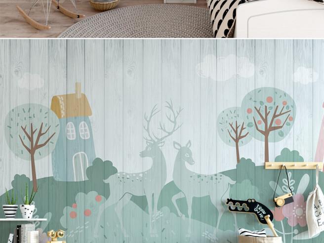 Олени на деревянном полотне