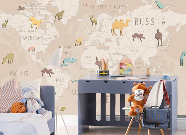Бежевая карта мира