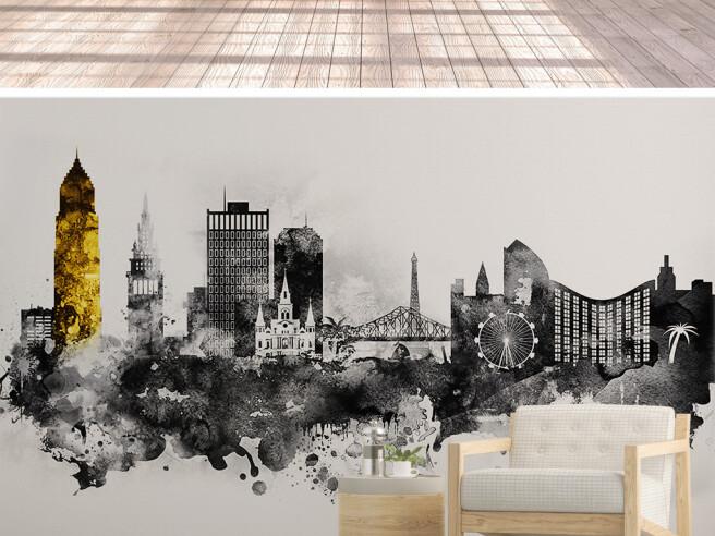 Фотообои Золотая башня и черно-белый город