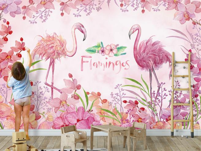 Фотообои Цветок между фламинго