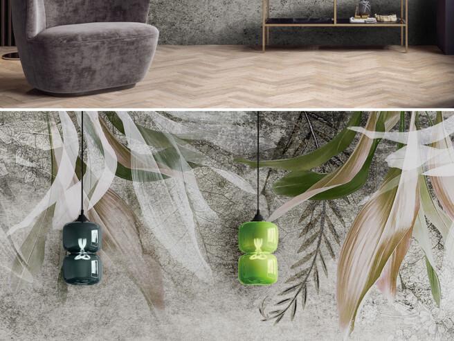 Фотообои Желтые листья пальм