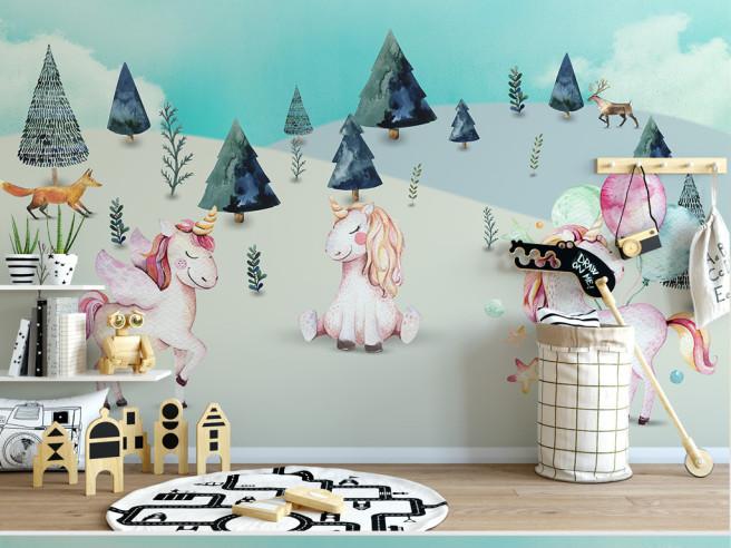 Единороги в снежном лесу