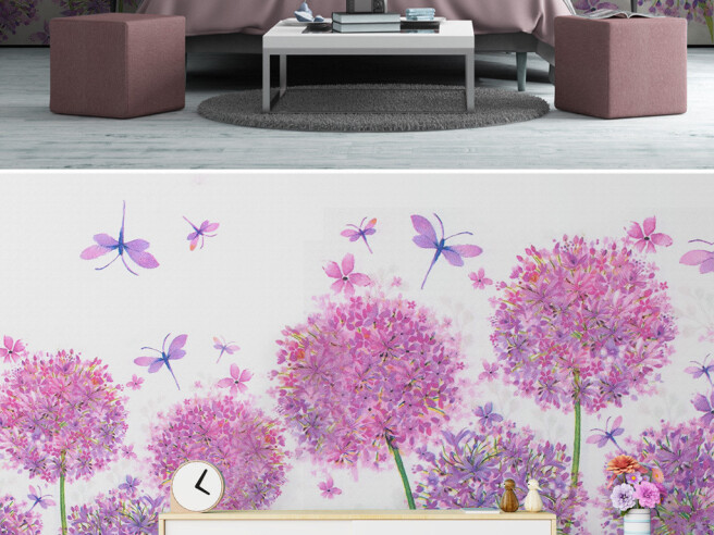 Фиолетовые цветы и стрекозы