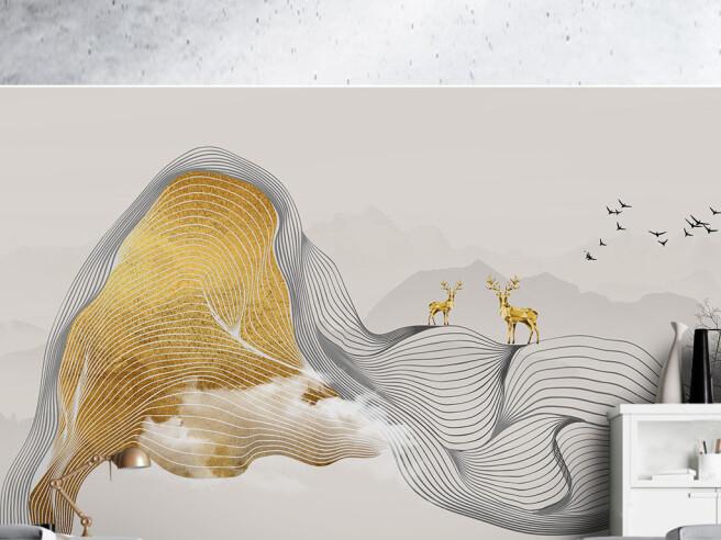 Фотообои Золотые олени на полосках