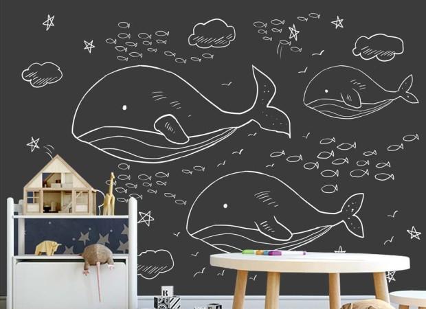 Нарисованные киты и рыбки