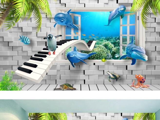 Фотообои Клавишная дорога и дельфины