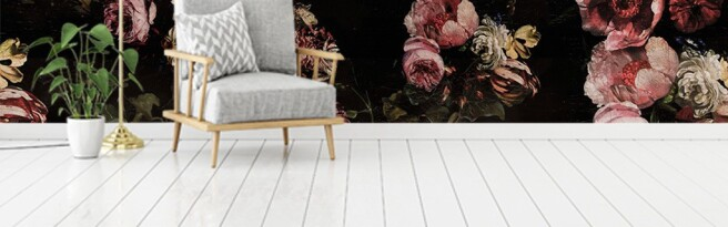 Фотообои Весенние цветы на темном фоне