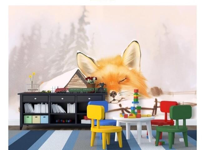 Фотообои Лис спит на снегу