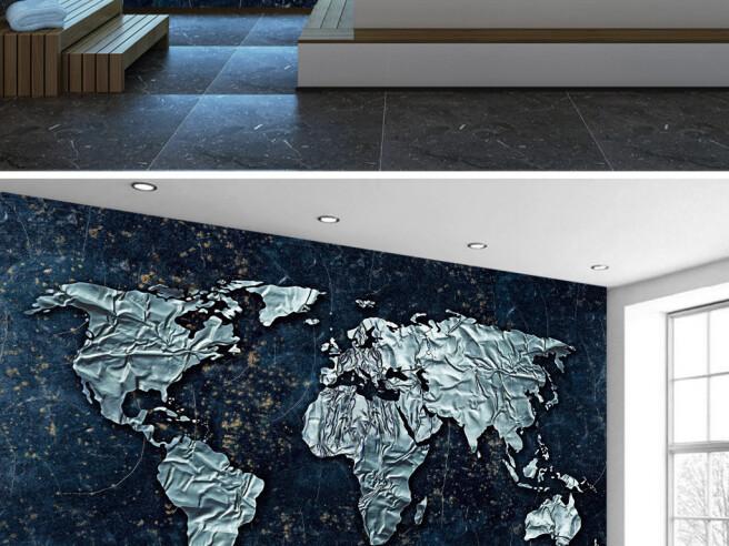 Фотообои Металлическая карта мира