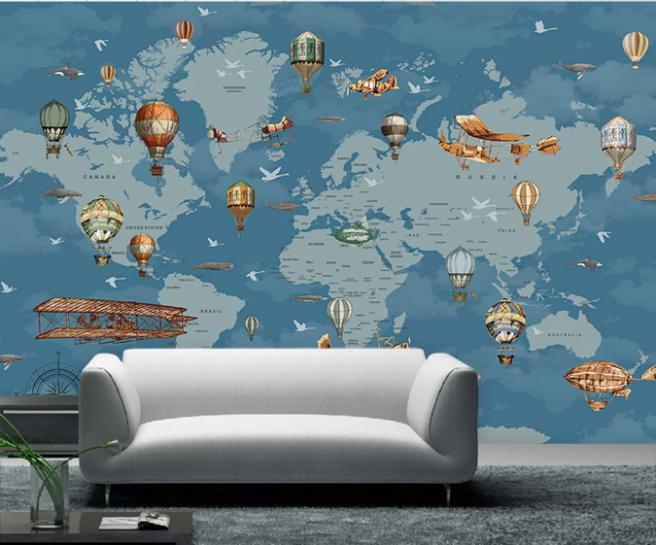 Фотообои карта с дирижаблями и шарами