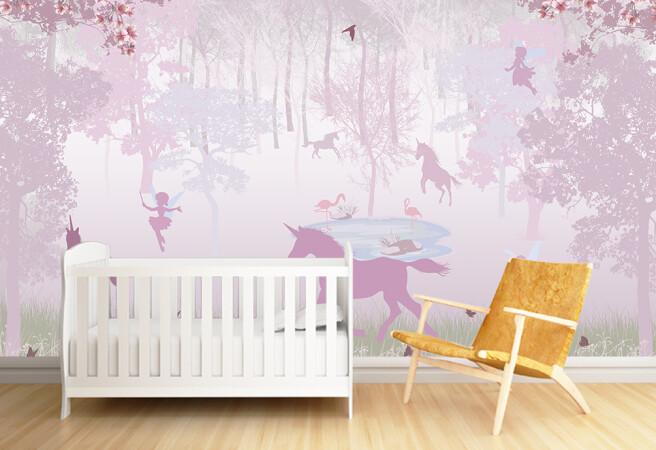 Фотообои сказочный лес в розовых оттенках