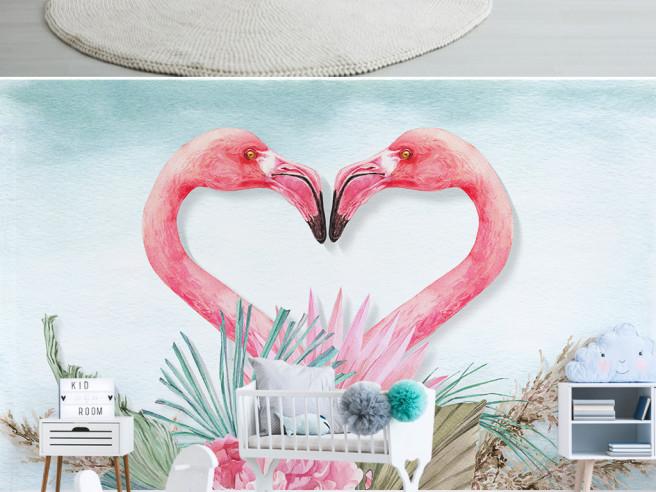 Фотообои Фламинго в виде сердца