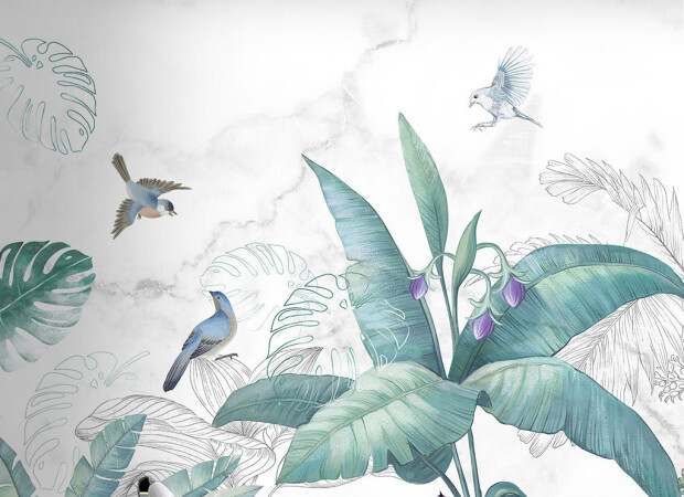 Птицы на тропическом кусте
