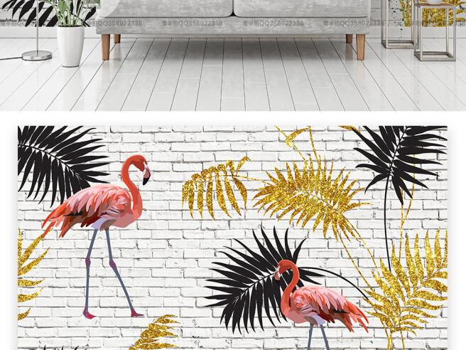 Фламинго на фоне кирпичной стены