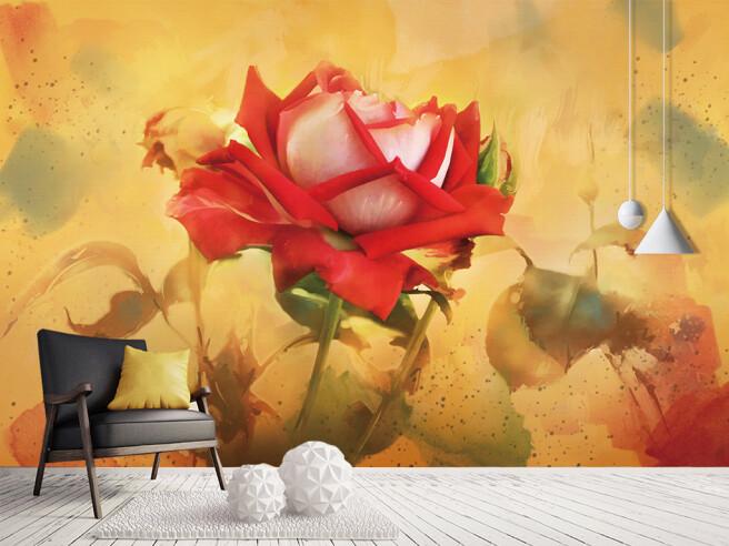 Фотообои Алая роза на золотом фоне