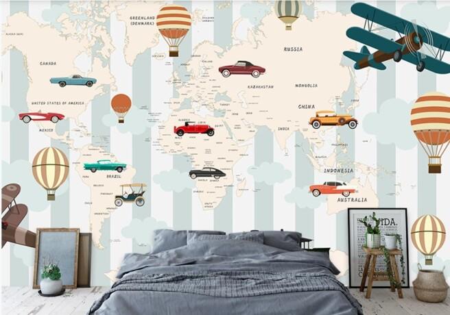 Фотообои карта с машинами и шарами