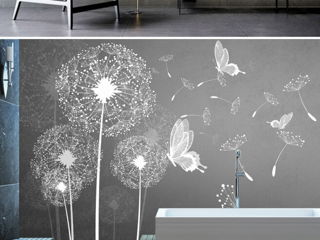Фотообои Одуванчик с бабочками