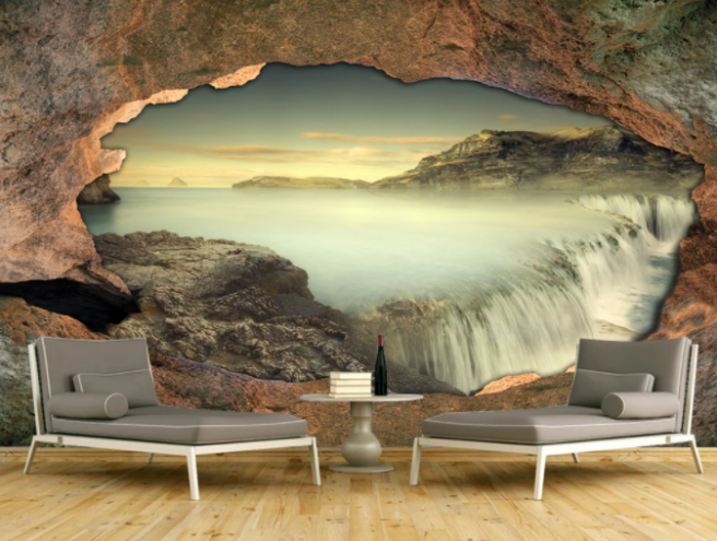Фотообои водопад в скале