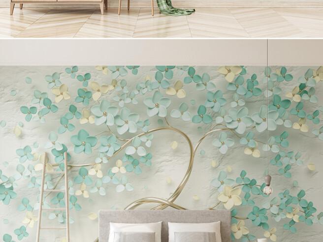 Фотообои Дерево с берюзовыми цветами