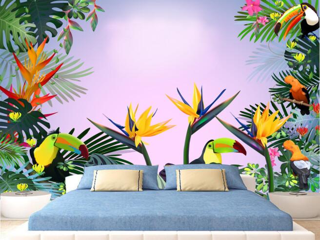 Туканы в ярких цветах