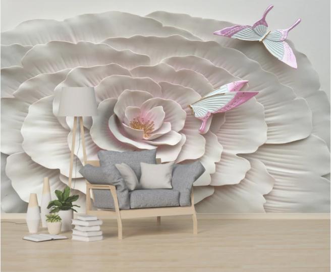 Фотообои цветок и бабочки