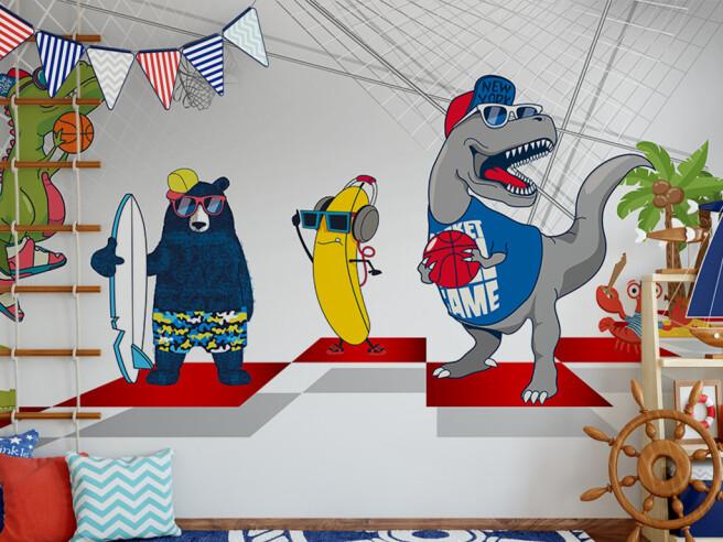 Фотообои Динозавры — баскетболисты