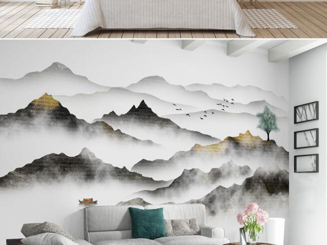 Фотообои Бежевые горы в тумане