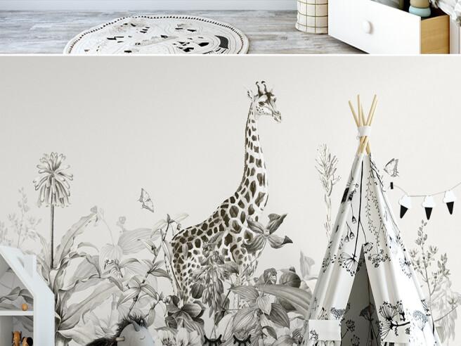 Фотообои Серый жираф в кустах