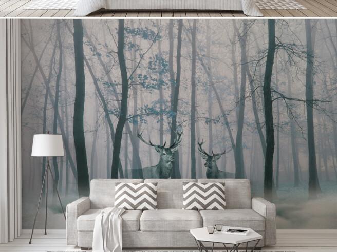 Очертание оленей в лесу